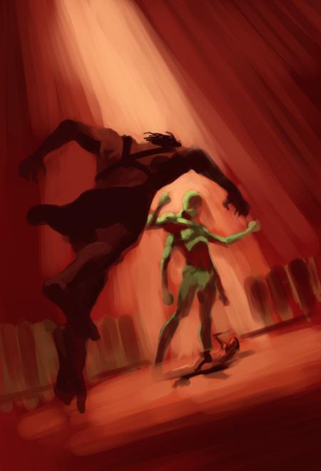 Marsin sankari väriluonnos, kuvittaja / illustrator Ossi Hiekkala 2011