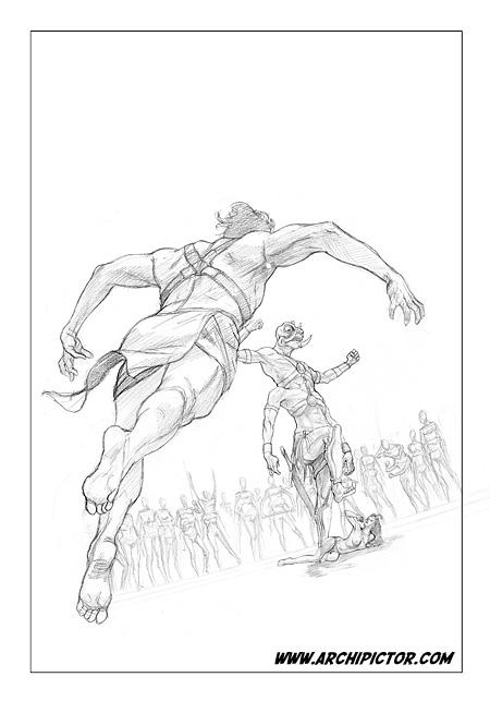 Marsin sankari - luonnos 3, kuvittaja / illustrator Ossi Hiekkala 2011