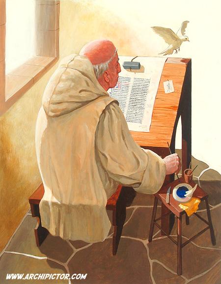 Historian tuulet 2 -oppikirjan kuvituskuva, kuvittaja / illustrator Ossi Hiekkala 2003