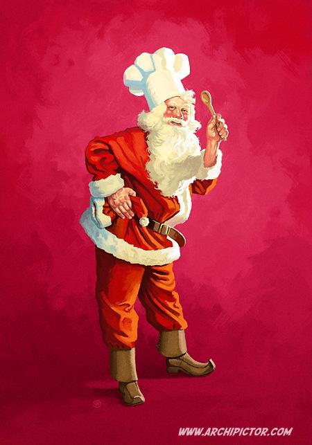 Joulupukki, kuvittaja / illustrator Ossi Hiekkala 2012