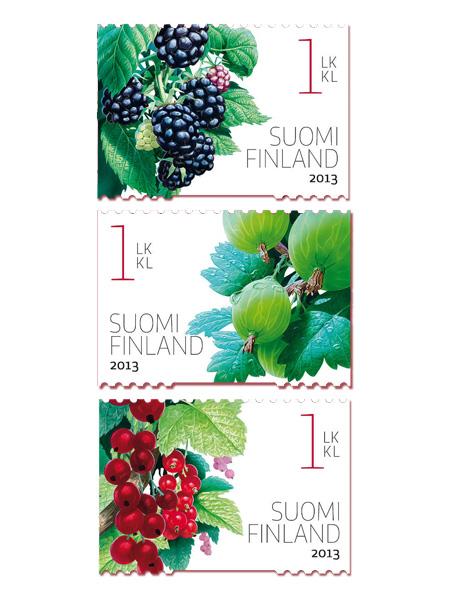 Puutarhamarjoja, postimerkit; kuvitus Ossi Hiekkala, design Heikki Sallinen, Itella 2013