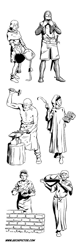 Historian tuulet 2: Keskiaikaisia ammatteja, kuvittaja / illustrator Ossi Hiekkala 2003