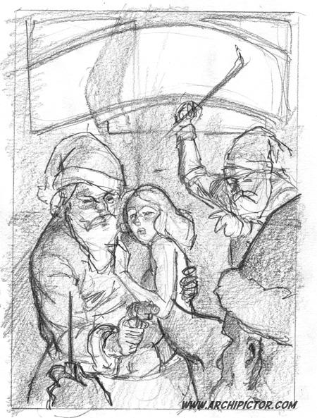 Rough sketch 2, kuvittaja / illustrator Ossi Hiekkala 2013