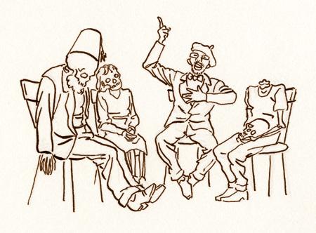 Paneelikeskustelu, kuvittaja / illustrator Ossi Hiekkala 2014