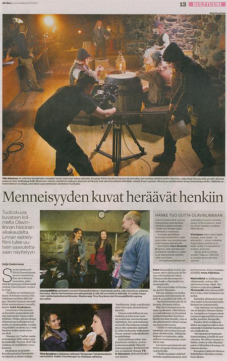 Itä-Savo 19.10.2014; teksti Seija Gustavsson / kuva Soila Puurtinen