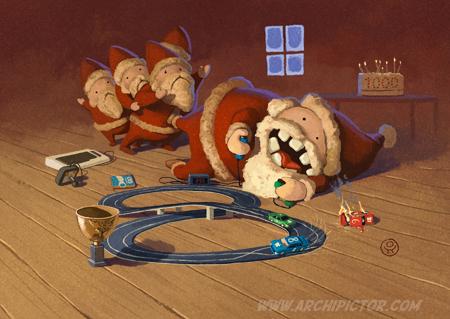 Boogie joulukortti, kuvittaja / illustrator Ossi Hiekkala 2014