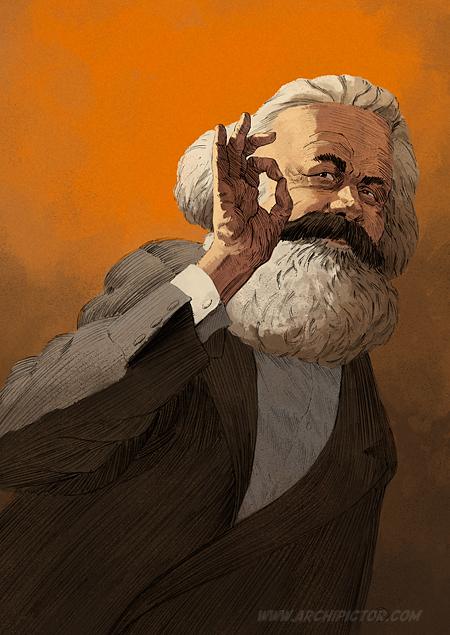 Karl Marx, kuvittaja / illustrator Ossi Hiekkala 2014