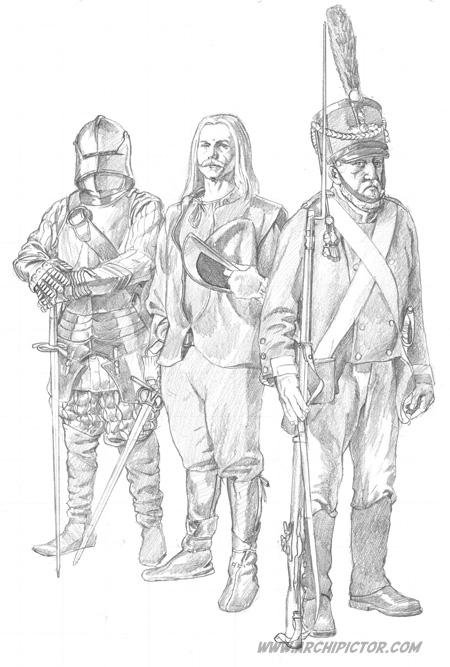 Olavinlinnan vartiomiehet (luonnos), kuvittaja / illustrator Ossi Hiekkala 2014