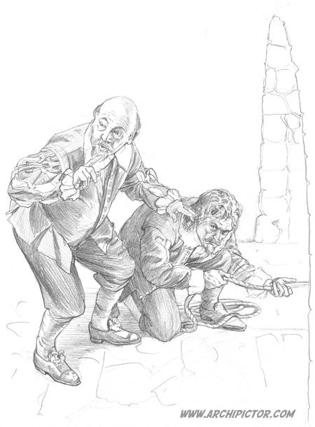 Eversti Mitzlaff ja tämän palvelija pakenemassa (luonnos), kuvittaja / illustrator Ossi Hiekkala 2014