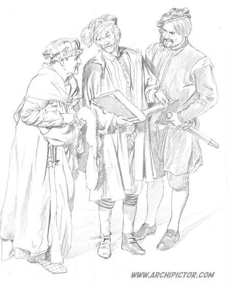 Olavinlinnan kankuri, kirjuri ja linnanpäällikkö (luonnos) , kuvittaja / illustrator Ossi Hiekkala 2014