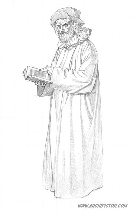 Olavinlinnan saarnamies (luonnos), kuvittaja / illustrator Ossi Hiekkala 2014