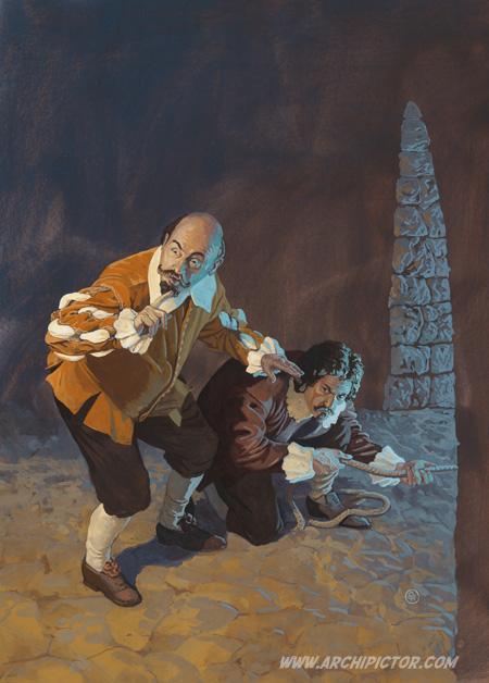 Eversti Mitzlaff ja tämän palvelija pakenemassa, kuvittaja / illustrator Ossi Hiekkala 2014