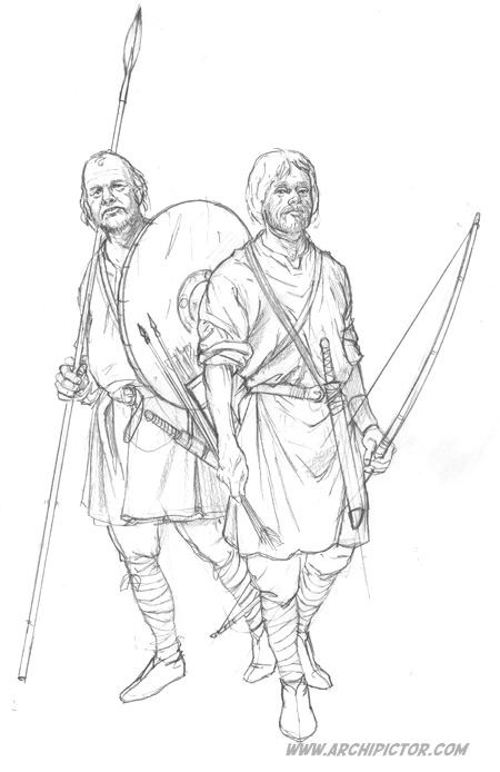 Saksilaissoturit (luonnos), kuvittaja / illustrator Ossi Hiekkala 2015
