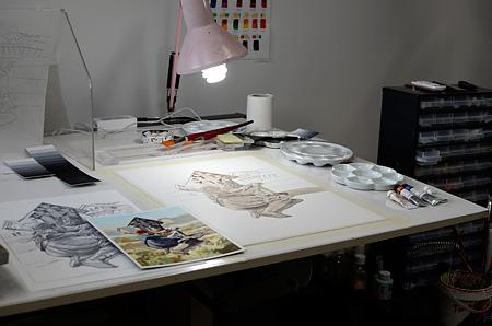 Keskustelu (pöytä on katettu), kuvittaja / illustrator Ossi Hiekkala 2015