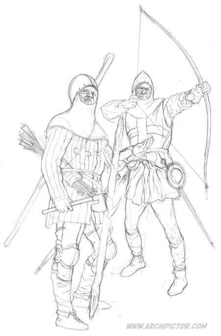 English Archer 1415 (luonnos), kuvittaja / illustrator Ossi Hiekkala