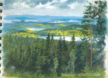 Plein air, Puijo 4.7.2015, kuvittaja / illustrator Ossi Hiekkala