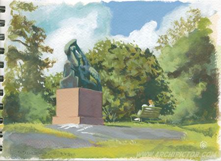 Plein air, Topeliuksen puisto 9.7.2015, kuvittaja / illustrator Ossi Hiekkala