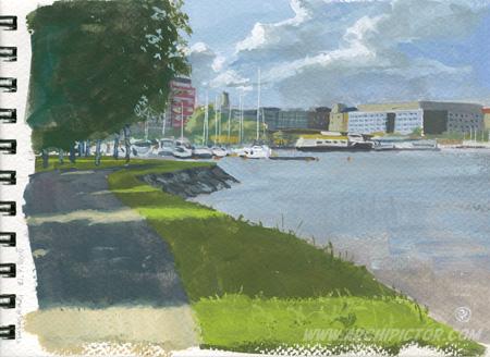 Plein air, Tervasaari 21.7.2015, kuvittaja / illustrator Ossi Hiekkala