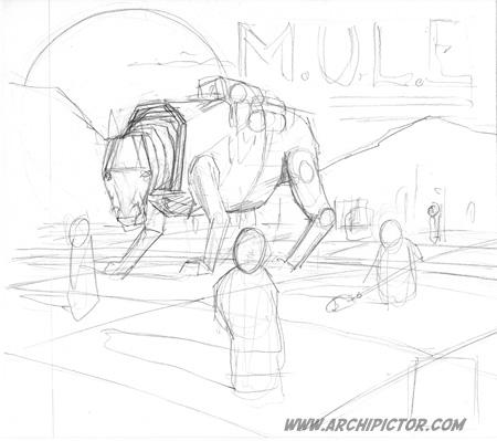 M.U.L.E. (luonnos), kuvittaja / illustrator Ossi Hiekkala 2014