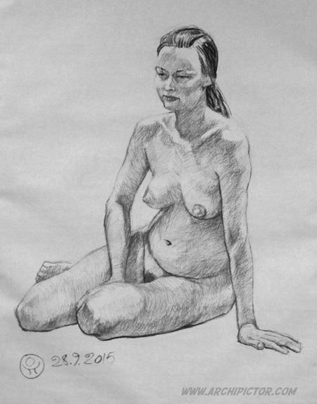 Elävä malli 28.9.2015, kuvittaja / illustrator Ossi Hiekkala