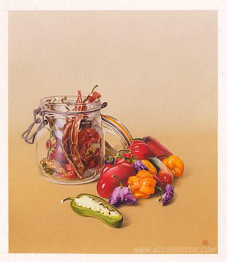 Puutarhan antimia: Chilit, kuvittaja / illustrator Ossi Hiekkala 2014
