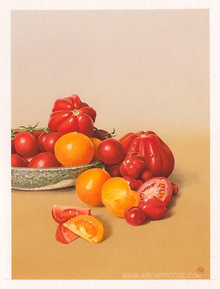 Puutarhan antimia: Tomaatit, kuvittaja / illustrator Ossi Hiekkala 2014