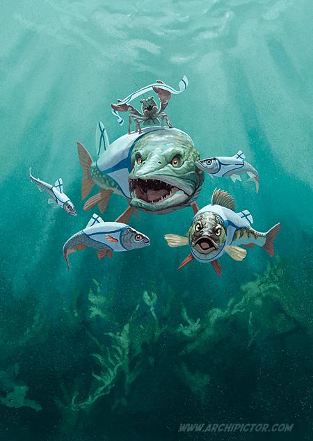 Järvikalaa Nam!, kuvittaja / illustrator Ossi Hiekkala 2016