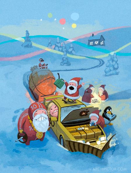 Boogie -joulukortti, kuvittaja / illustrator Ossi Hiekkala 2016