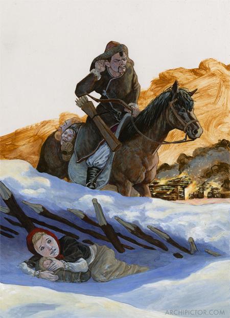 Kultainen orda, Historian tuulet 2, kuvittaja / illustrator Ossi Hiekkala 2003