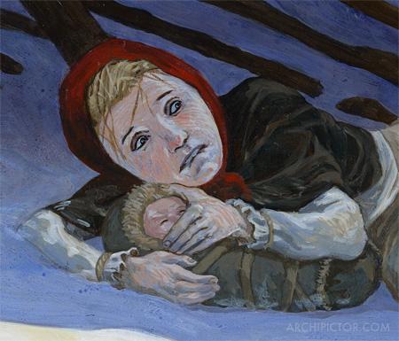 Kultainen orda (detail), Historian tuulet 2, kuvittaja / illustrator Ossi Hiekkala 2003