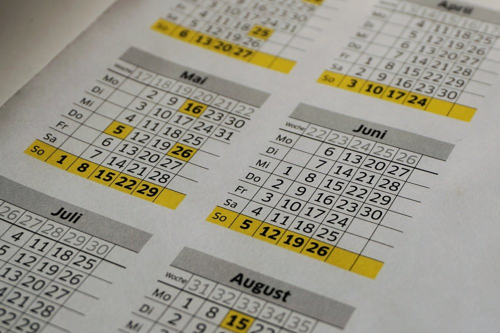 Image of a calendar.Cloud Vision APIs confuse tables of data with common objects, requiring careful handling of images to ensure useful classifications.