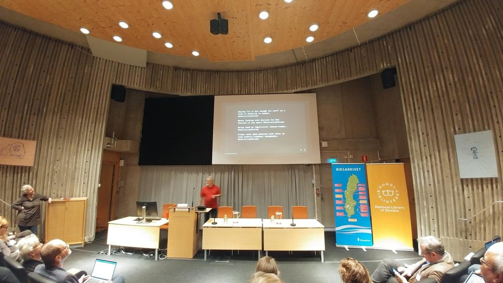 The conference kicks off in the auditorium of the National Library of Sweden
