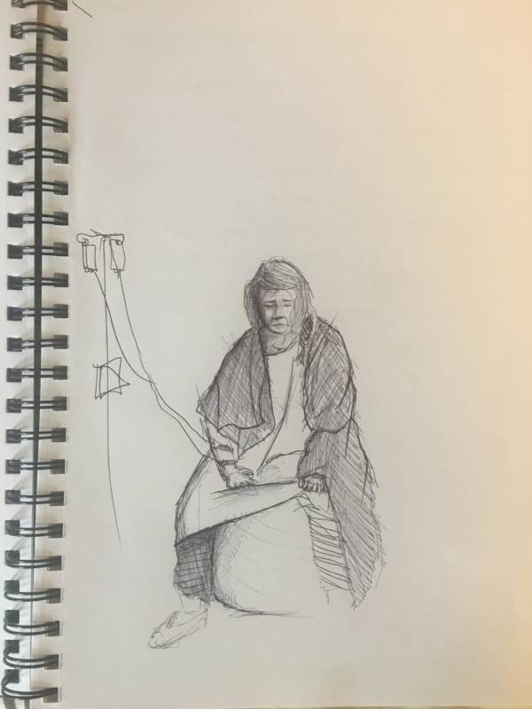 sydney birth photographer - sketch of woman in labour