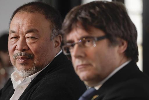Ai Weiwei and Carles Puigdemont in Brussels, November 21, 2018