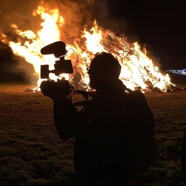 Anything to get the shot ;) on location with the #nationalwonders crew in Devon, shooting tar barrels! Watch out for the film coming soon... #filmmaking