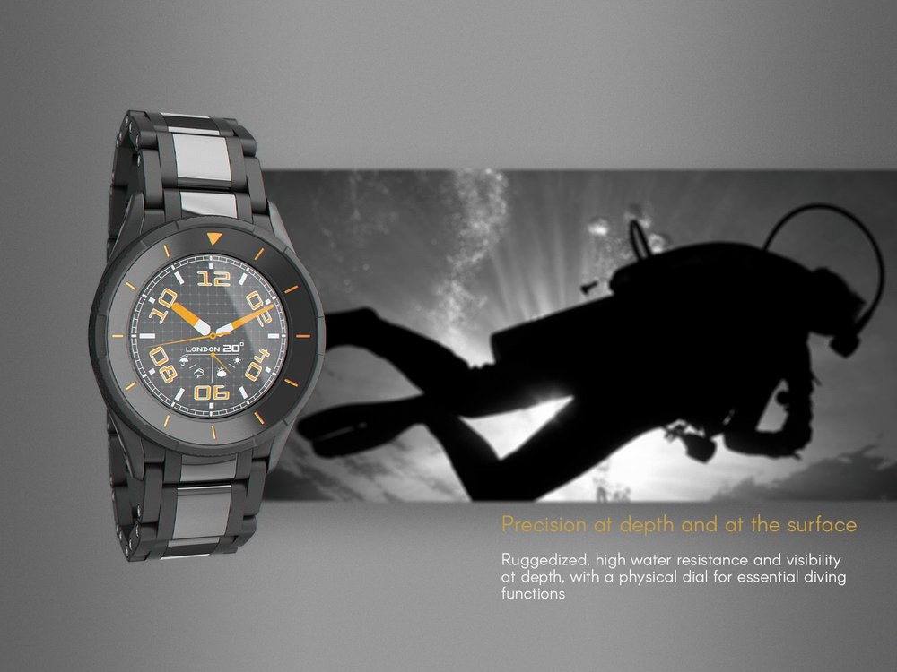 An example of a diver's rugged metal watch design
