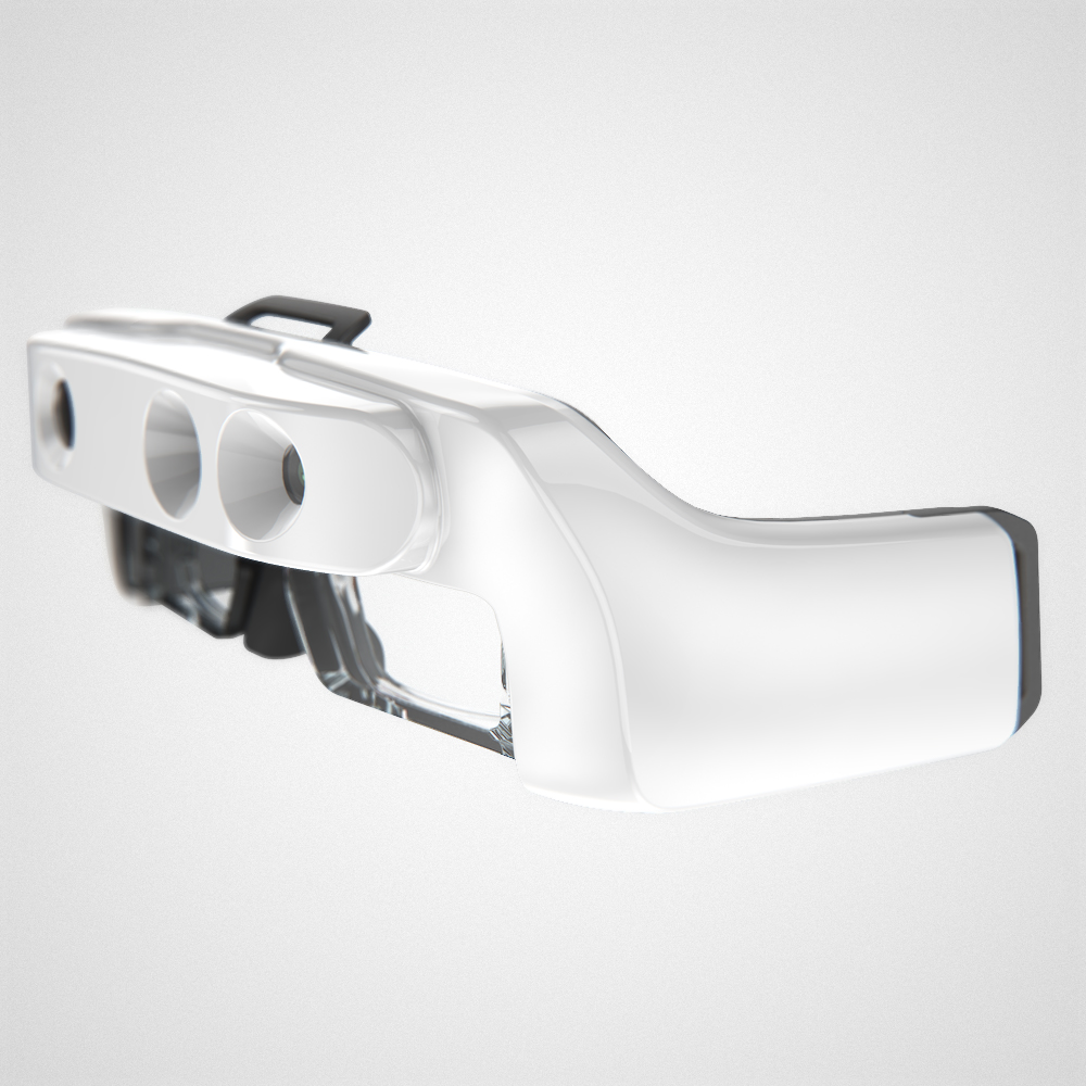 Side front view of the glossy white Helios headset