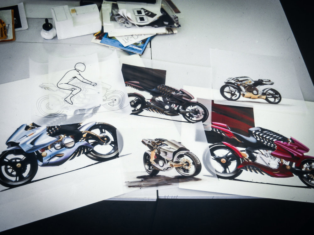 Hand rendered sketches of the H2 motorcycle in various colours and angles