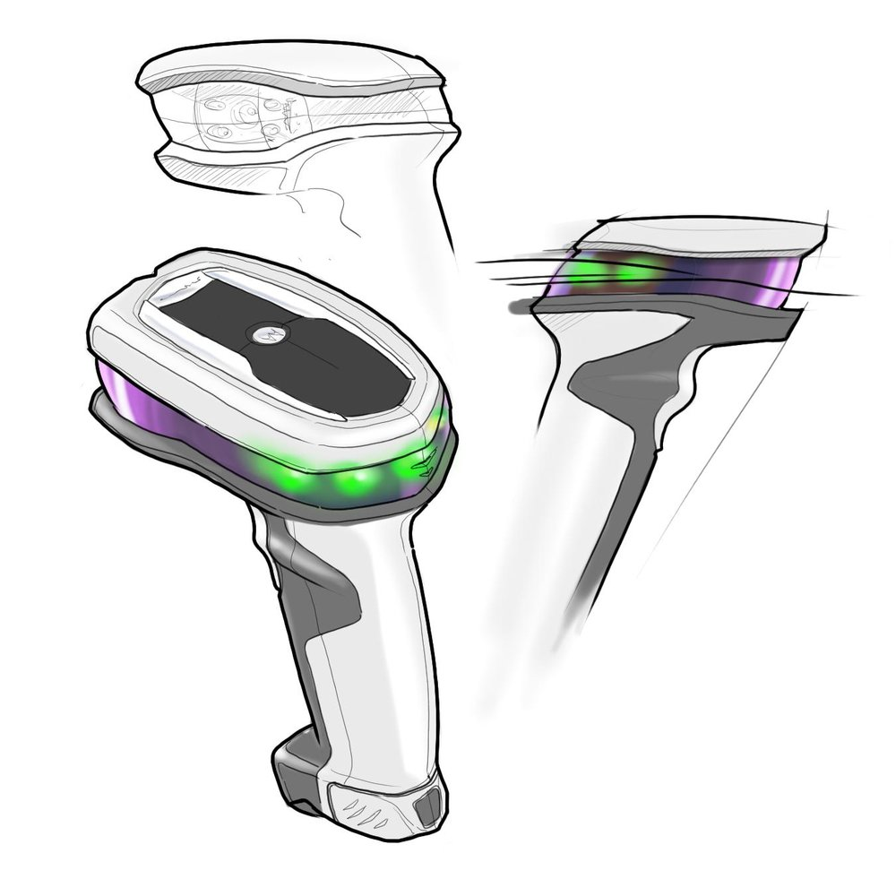 Early concept sketch of the Halo concepts project with a scan window that wrapped around the entire housing above the handle area