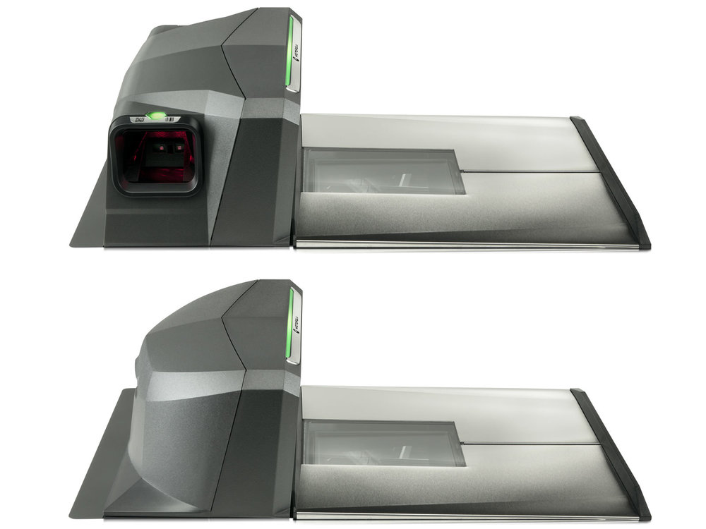 View of the 2 configurations of MP6000 Bioptic scanner, one with a side mounted loyalty card barcode scanner, one without