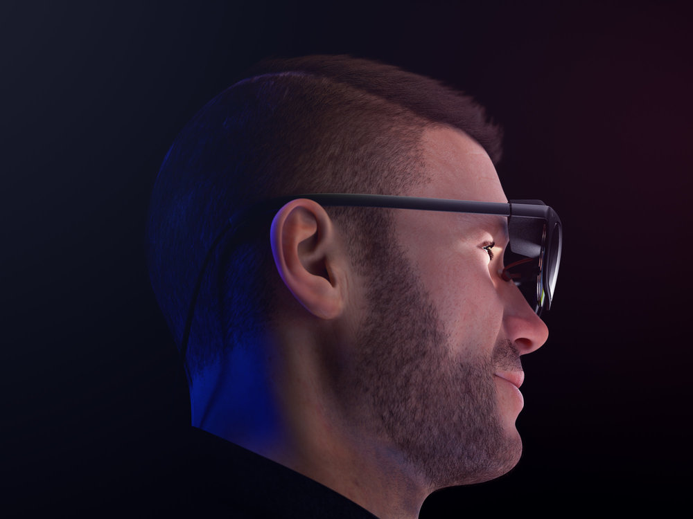 Side view render of a man wearing a pair of concept WaveOptics glasses