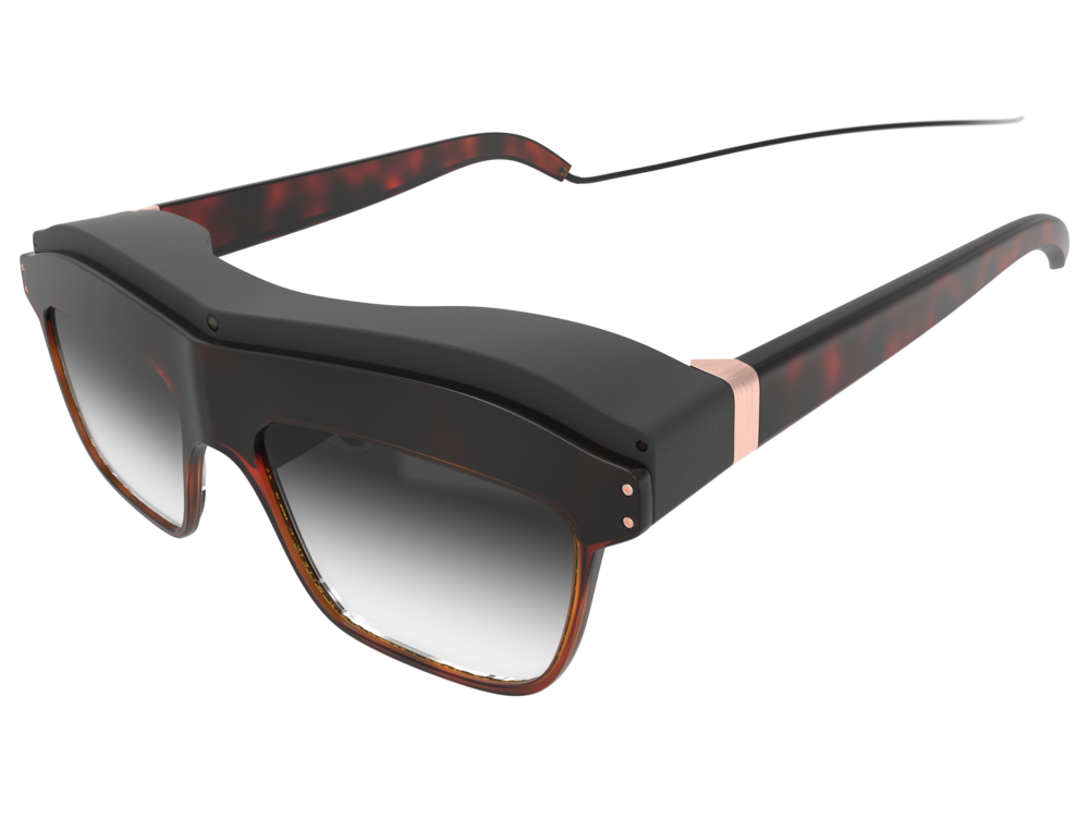 Top perspective view of the woman's concept design WaveOptics glasses