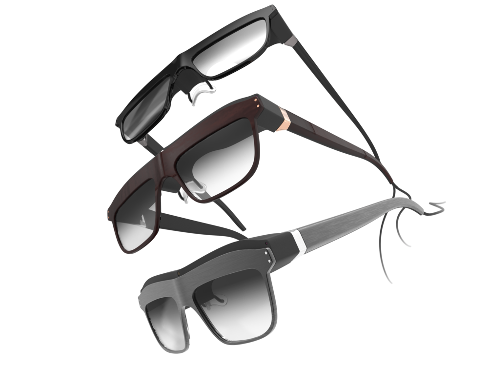 Array of 3 of the women's concept WaveOptics glasses in a variety of finishes
