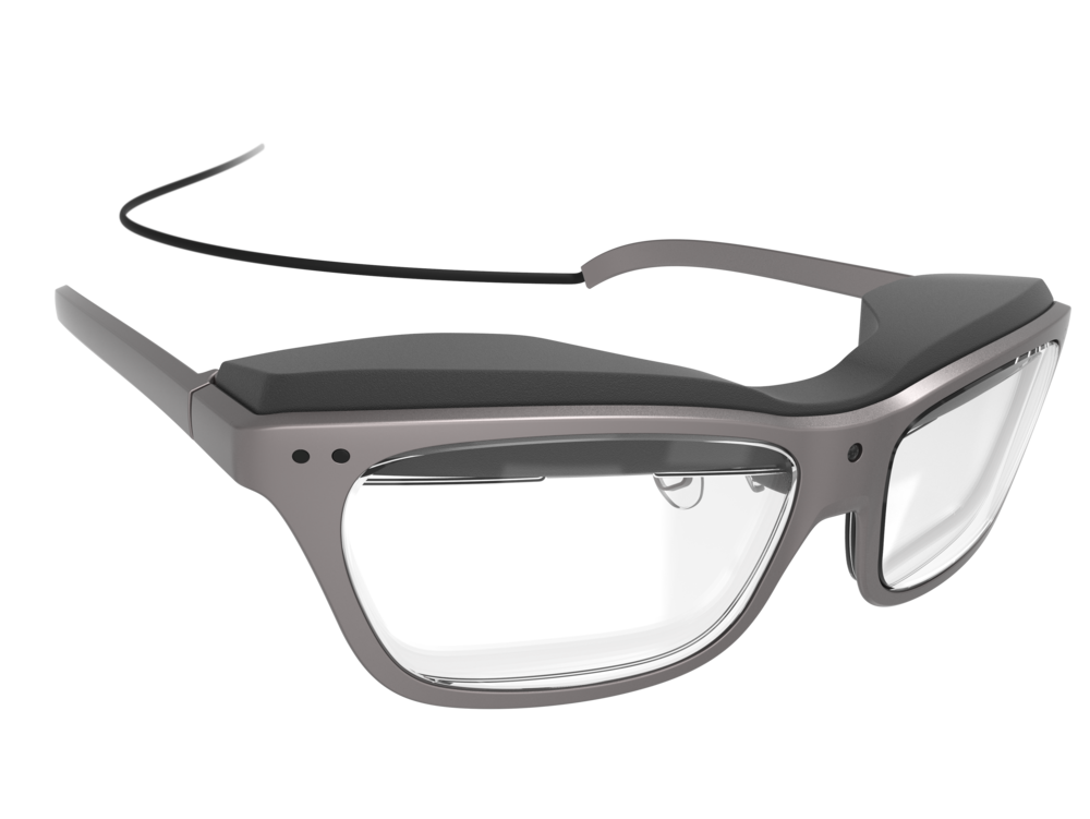 Front perspective view of the man's concept design WaveOptics glasses