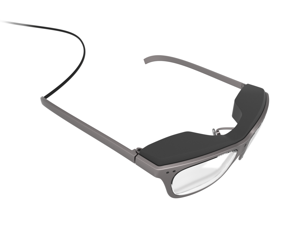Top perspective of the man's concept design WaveOptics glasses