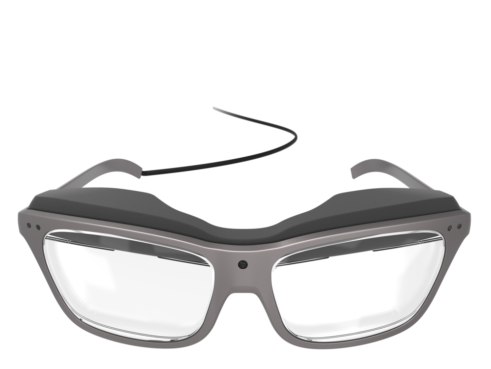 Front view of the man's concept design WaveOptics glasses
