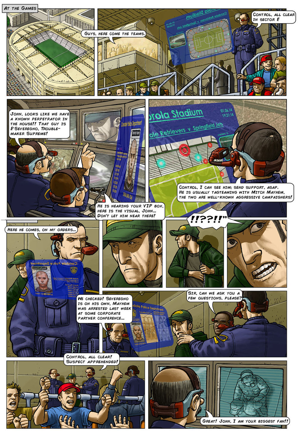 Colourised comic strip of an HMD being worn during a security and crime-prevention scenario