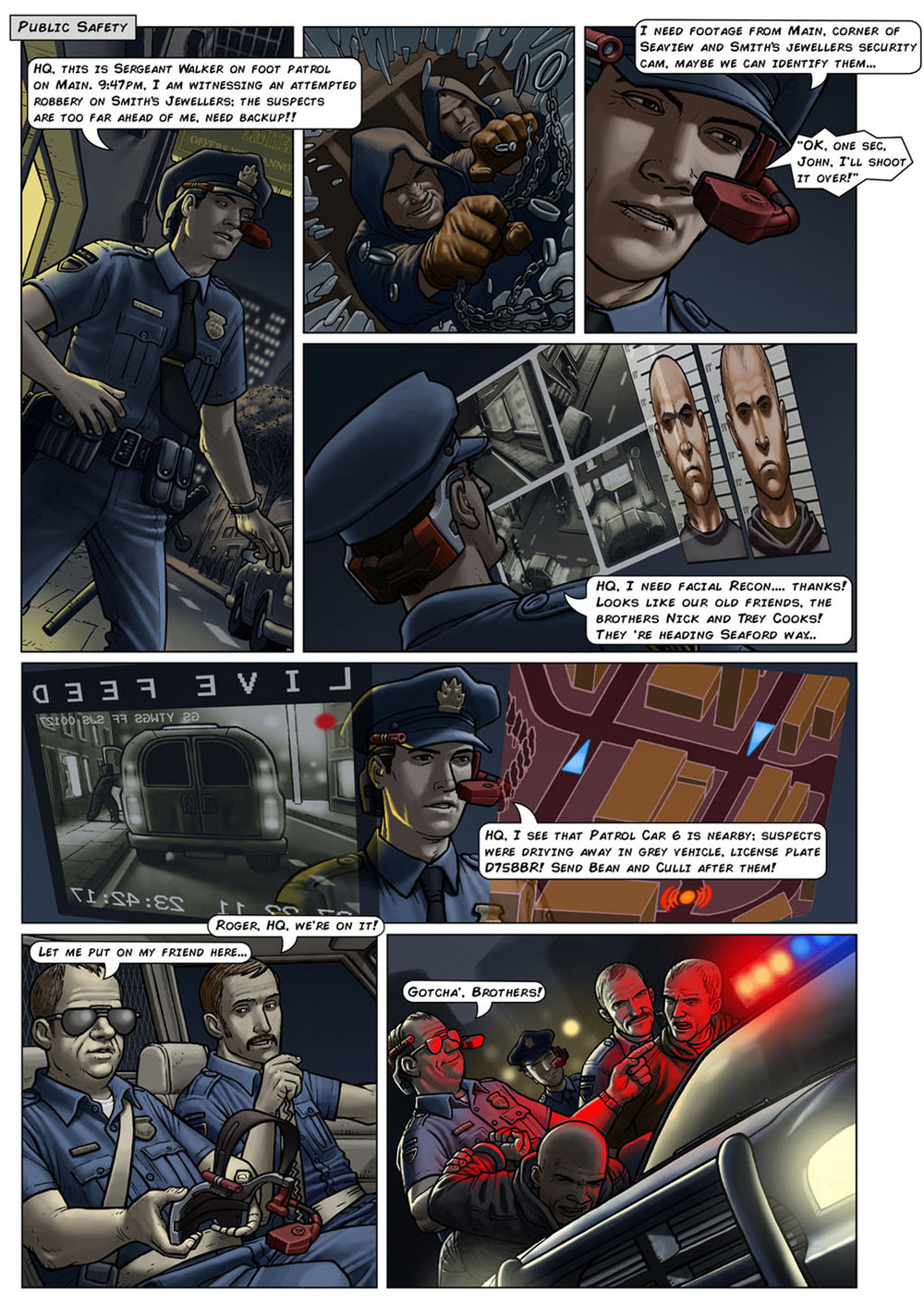 Colourised comic strip of an HMD being worn during a crime fighting scenario