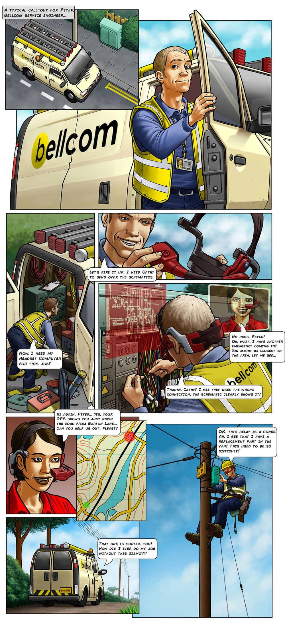 Colourised comic strip of an HMD being worn during an electrical installation scenario
