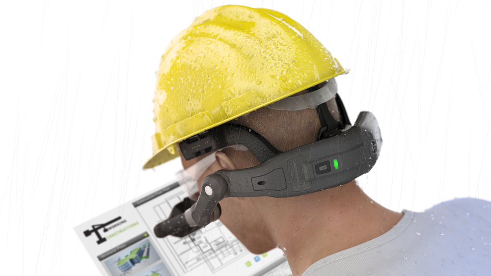 Hardhat wearing HC1 user in the rain with simulated screen view hovering before him